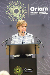 Rt Hon Nicola Sturgeon, First Minister of Scotland and internationalists from Oriam's sporting partners officially open the £33m Heriot-Watt University Edinburgh facility.