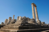 Picture of the steps & columns of the ruins of the Ancient Ionian Greek  Didyma Temple of Apollo & home to the Oracle of Apollo.  Also known as the Didymaion completed circa 550 BC. modern Didim in Aydin Province, Turkey. .<br /> <br /> If you prefer to buy from our ALAMY PHOTO LIBRARY  Collection visit : https://www.alamy.com/portfolio/paul-williams-funkystock/didyma-temple-turkey.html<br /> <br /> Visit our TURKEY PHOTO COLLECTIONS for more photos to download or buy as wall art prints https://funkystock.photoshelter.com/gallery-collection/3f-Pictures-of-Turkey-Turkey-Photos-Images-Fotos/C0000U.hJWkZxAbg