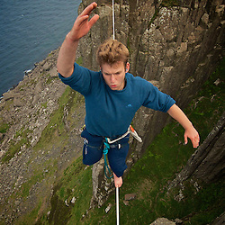 """Fairhead Trad Climbing/Highline Meeting..Nadeem Al Khafaji on the beautiful Highline of """"The Grey Man's Path""""..Enjoy, Like, Tag, Post, Repost but above all... Be inspired and go :) Ride the planet!..Location: Ireland, Fairhead.Highliners: Nadeem Al-Khafaji ,Pedro PImentel..More info @ www.pedropimentel.net.www.pedropimentel.wordpress.com/.www.vimeo.com/pedropimentel..Mandatory Credit: 2012©PedroPimentel.net."""