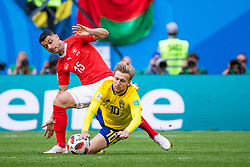 July 3, 2018 - St Petersburg, RUSSIA - 180703 Blerim Dzemaili competes for the ball with Emil Forsberg of Sweden during the FIFA World Cup round of 16 match between Sweden and Switzerland on July 3, 2018 in St Petersburg..Photo: Joel Marklund / BILDBYRÃ…N / kod JM / 87748 (Credit Image: © Joel Marklund/Bildbyran via ZUMA Press)