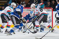 KELOWNA, CANADA - DECEMBER 30: Nick Merkley #10 of the Kelowna Rockets tries to put the puck past Griffen Outhouse #30 of the Victoria Royals during second period on December 30, 2016 at Prospera Place in Kelowna, British Columbia, Canada.  (Photo by Marissa Baecker/Shoot the Breeze)  *** Local Caption ***