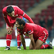 Turkey's Hamit ALTINTOP (R) and Arda TURAN (L) during their UEFA EURO 2012 Qualifying round Group A soccer match Turkey betwen Azerbaijan at TT Arena in Istanbul October 11, 2011. Photo by TURKPIX