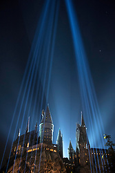 """Lights are seen during the opening of """"the Wizarding World of Harry Potter"""" at the Hogwarts castle of the Universal Studios in Hollywood of Los Angeles, the United States, April 5, 2016. EXPA Pictures © 2016, PhotoCredit: EXPA/ Photoshot/ Yang Lei<br /> <br /> *****ATTENTION - for AUT, SLO, CRO, SRB, BIH, MAZ, SUI only*****"""