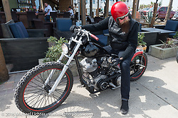 Jim Root during a stop in Flagler Beach while out riding during Daytona Bike Week 75th Anniversary event. FL, USA. Thursday March 3, 2016.  Photography ©2016 Michael Lichter.