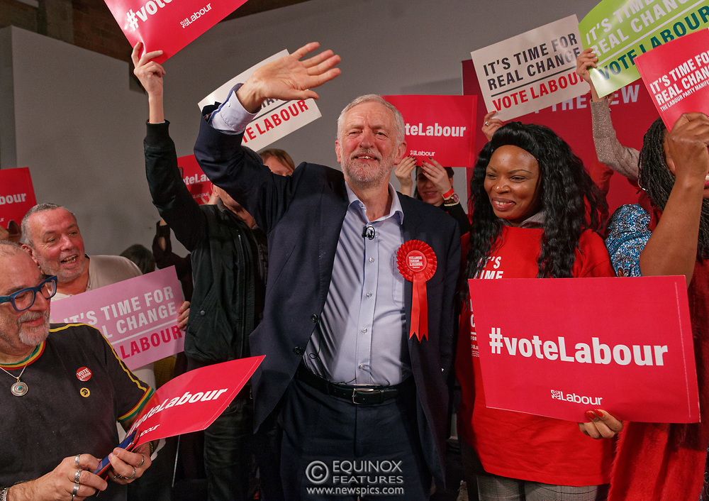 London, United Kingdom - 11 December 2019<br /> Labour Party leader Jeremy Corbyn speaking at their final campaign rally before the General Election 2019 at Hoxton Docks, London, England, UK.<br /> (photo by: EQUINOXFEATURES.COM)<br /> Picture Data:<br /> Photographer: Equinox Features<br /> Copyright: ©2019 Equinox Licensing Ltd. +443700 780000<br /> Contact: Equinox Features<br /> Date Taken: 20191211<br /> Time Taken: 21563874<br /> www.newspics.com