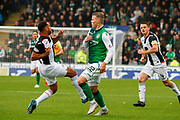 Anton Ferdinand of St Mirren wins the 50/50 ball against  Florian Kamberi of Hiberninan FC during the Ladbrokes Scottish Premiership match between St Mirren and Hibernian at the Simple Digital Arena, Paisley, Scotland on 29th September 2018.