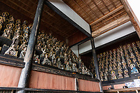 Tenneiji Rakan Hall - The stone garden outside represents the rakan Buddhist disciples inside the Rakan Hall. At the main hall where the Buddha is and the Rakan-do where the 16 Arhats are, the only white stone in the center expresses the Buddha and the 16 stones surrounding it express the 16 Arhats.The 16 statues of Rakan in the precincts are said to have been given by daimyo lords from 16 parts of the country.It is a stone garden that you can enjoy from a 360-degree angle.