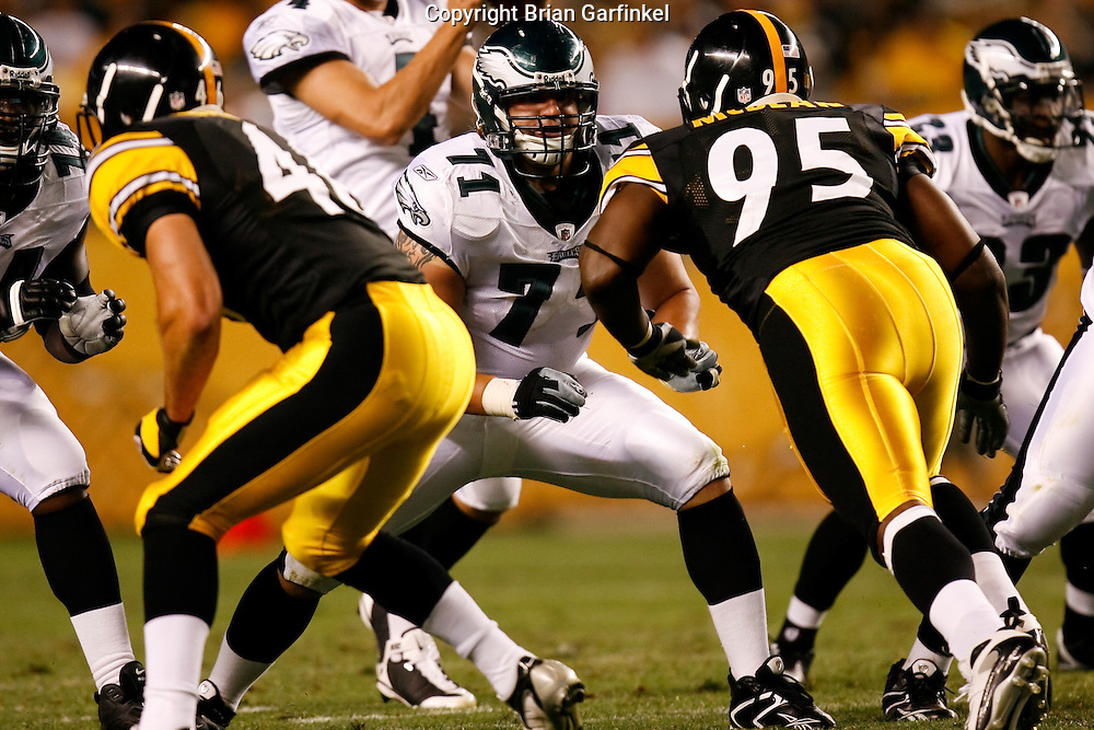 Pittsburgh, PA - PITTSBURGH - AUGUST 8: Philadelphia Eagles guard Scott Young #71 on the line of scrimmage during the game against the Pittsburgh Steelers on August 8, 2008 at Heinz Field in Pittsburgh, Pennsylvania. The Steelers won 16-10. (Photo by Brian Garfinkel)