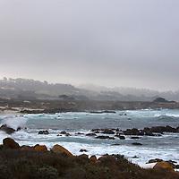 USA, California, Monterey. The Restless Sea coastline of 17-Mile Drive, Monterey.