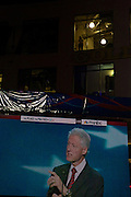 A large screen at the MSNBC stage inside the Epicentre projects the live speech by Pres. Bill Clinton during the 2012 Democratic National Convention on Wednesday, September 5, 2012 in Charlotte, NC.