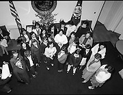 Galway Travellers Visit U.S.Embassy.    (N67)..1981..01.04.1981..04.01.1981..1st April 1981..Elizabeth,the wife of American Ambassador Mr William Shannon,invited a group of Galway travellers to afternoon tea at the residence in Phoenix Park, Dublin...Image shows the members of the Galway travelling community meeting with Mrs Elizabeth Shannon in the foyer of the U S Ambassadors residence in Phoenix Park, Dublin.Mrs Shannon was presented with a Galway shawl by the ladies..