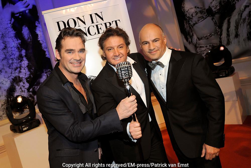 Perspresentatie DON in Concert - Swingin'with Friends in Studio 21, Hilversum. Een concert voor de Stichting DON (Diabetes Onderzoek Nederland).<br /> <br /> Op de foto:  Jeroen van der Boom, Rene Froger en Sonny Hoogwerf