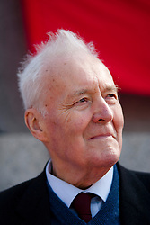 © Under licence to London News Pictures. 14/03/14 Tony Benn has died aged 88. FILE PICTURE:  01/05/11. Labour politician Tony Benn waits to address several thousand people taking part in a Mayday demonstration in central London. Please see special instructions for usage rates. Photo credit should read Matt Cetti-Roberts/LNP