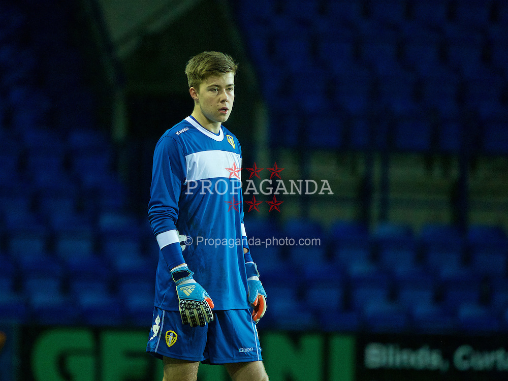 BIRKENHEAD, ENGLAND - Tuesday, January 19, 2016: Leeds United's goalkeeper Bailey Peacock-Farrell in action against Liverpool during the Under-21 Premier League Cup match at Prenton Park. (Pic by David Rawcliffe/Propaganda)