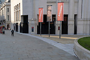 The banners for the current art exihibition of Italian Baroque artist Artemisia Gentileschi during the second lockdown in the second wave of the Coronavirus pandemic, on 6th November 2020, in London, England. Galleries and indoor entertainment venues must remain closed for 4 weeks until at least 2nd December. Gentileschi was an Italian Baroque painter, now considered one of the most accomplished seventeenth-century artists, initially working in the style of Caravaggio.