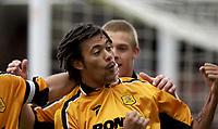 Photo: Richard Lane.<br />Northampton Town v Hull City. Nationwide Division Three. 04/10/2003.<br />Jason Price celebrates his goal.