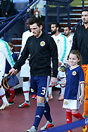 Scotland defender Andrew Robertson (3) (Liverpool) leads the team out for the Friendly international match between Scotland and Portugal at Hampden Park, Glasgow, United Kingdom on 14 October 2018.