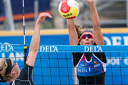Katja Stam and Madelein Meppelink (L) in action in the Final of the DELA NK Beach volleyball for men and women will be played in The Hague Beach Stadium on the beach of Scheveningen on 23 July 2020 in Zaandam.