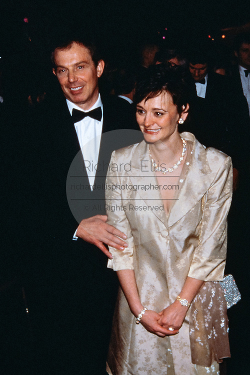 British Prime Minister Tony Blair and his wife Cherie Blair during the State Dinner at the White House February 5, 1998 in Washington, DC.