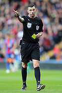Referee Michael Oliver in action. Barclays Premier League match, Crystal Palace v Norwich city at Selhurst Park in London on Saturday 9th April 2016. pic by John Patrick Fletcher, Andrew Orchard sports photography.