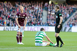 Heart of Midlothian's Oliver Bozanic (L) concedes penalty after foul on Celtic's Ryan Christie (R) during the Betfred Cup semi final match at BT Murrayfield Stadium, Edinburgh.