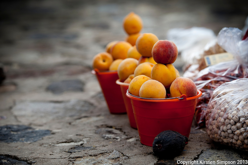 Selling Fruit and Nuts on the Street in Cholula
