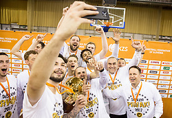 Nikola Jankovic #12 of KK Union Olimpija and other players of KK Union Olimpija celebrates after wining during basketball match between KK Union Olimpija and KK Rogaska in 4th Final game of Liga Nova KBM za prvaka 2016/17, on May 24, 2017 in Hala Tivoli, Ljubljana, Slovenia. Photo by Vid Ponikvar / Sportida