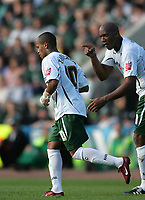 Photo: Lee Earle.<br /> Plymouth Argyle v Norwich City. Coca Cola Championship. 23/09/2006. Norwich's Dion Dublin (R) congratulates Robert Earnshaw after he scored their only goal.