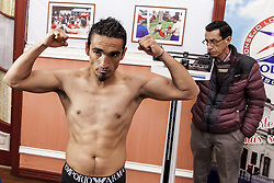 October 4, 2018 - Osorno, Chile - Osorno, Chile. 4 October 2018. The boxer Guillermo ''Terrible'' Tejeda..Ceremony of weighing for the professional combat for the Gallo category between Claudio ''Azteca'' Laviñanza and Guillermo ''Terrible'' Tejeda. Laviñanza (20) will make his second professional fight against the experienced Tejeda (39) at the Prat-Lautaro gym in Osorno, Chile. (Credit Image: © Fernando Lavoz/NurPhoto/ZUMA Press)