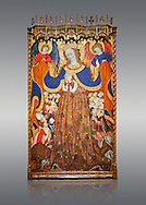 Gothic Catalan altarpiece depicting the Madonna of Mercy by Bonant Zaortiga, circa 1430-1440, tempera and gold leaf on wood, from the church of Mare de Dieu de Carrasca , Blancas, Terol, Spain<br /> Bonnat Zaortiga was one of the most prominent representatives of the international Gothic. The Mother of God of Mercy  protects humans with her cape, symbolizing one of the most feared evils of the European Middle Ages, plague, often understood as a punishment for the sins of mankind. This was the central panel of the altarpiece of the church of the Mother of God. National Museum of Catalan Art, Barcelona, Spain, inv no: MNAC 3945. . .<br /> <br /> If you prefer you can also buy from our ALAMY PHOTO LIBRARY  Collection visit : https://www.alamy.com/portfolio/paul-williams-funkystock/gothic-art-antiquities.html  Type -     MANAC    - into the LOWER SEARCH WITHIN GALLERY box. Refine search by adding background colour, place, museum etc<br /> <br /> Visit our MEDIEVAL GOTHIC ART PHOTO COLLECTIONS for more   photos  to download or buy as prints https://funkystock.photoshelter.com/gallery-collection/Medieval-Gothic-Art-Antiquities-Historic-Sites-Pictures-Images-of/C0000gZ8POl_DCqE