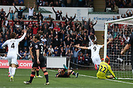 Fernando Llorente of Swansea city (9) celebrates after he scores his teams 1st goal. Premier league match, Swansea city v Everton at the Liberty Stadium in Swansea, South Wales on Saturday 6th May 2017.<br /> pic by  Andrew Orchard, Andrew Orchard sports photography.