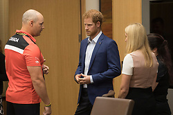 Prince Harry talks with Canadian veteran Mike Trauner, left, as Trauner's wife Leah Cuffe, right, and moderator Bronwen Evans look on during a reception before attending the True Patriot Love Symposium, in Toronto on Friday, September 22, 2017. Photo by Chris Young/Canadian Press/ABACAPRESS.COM