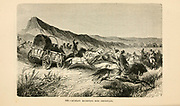 Buriats escorting Miss Christiani [The Buryats or Buryaad; are a Mongolic people comprise the largest indigenous group in Siberia]. engraving on wood From The human race by Figuier, Louis, (1819-1894) Publication in 1872 Publisher: New York, Appleton
