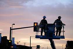 Security police on risers outside the Pepsi Center, location of the 2008 Democratic National Convention, August 27, Denver, Colorado.