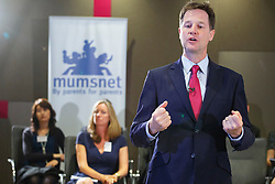© Licensed to London News Pictures. 30/06/2014. LONDON, UK. The Deputy Prime Minister, Nick Clegg holds a Q&A session with mums, dads and grandparents with Mumsnet and Gransnet at PwC in central London on Monday, 30 June to mark the first day that all employees gain the right to request flexible working from their employers. Photo credit : Tolga Akmen/LNP