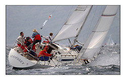 Yachting- The first days inshore racing  of the Bell Lawrie Scottish series 2002 at Tarbert Loch Fyne. Near perfect conditions saw over two hundred yachts compete. <br /> douglas watson showing electrifying pace and tactical supremacy  onboard Odyssey K9156Y sigma 33 robbed of the overall winners trophy.<br />Pics Marc Turner / PFM