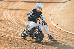 Mini-bike racing at the Born Free pre-party and Harley-Davidson Stampede at Costa Mesa Speedway. Costa Mesa, CA. USA. Thursday June 22, 2017. Photography ©2017 Michael Lichter.
