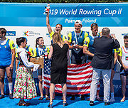Poznan, POLAND, 23rd June 2019, Sunday,  USA. PR3 Mix4+ (b)REILLY Alexandra, VOGT Todd, (3)NORDIN Charley, (s)SMITH Jaclyn and Cox PETRIK Karen, Gold medalist, FISA World Rowing Cup II, Malta Lake Course, © Peter SPURRIER/Intersport Images, <br /> <br /> 13:04:52