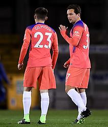 Billy Gilmour of Chelsea and Danny Drinkwater of Chelsea prior to kick off - Mandatory by-line: Ryan Hiscott/JMP - 18/11/2020 - FOOTBALL - Memorial Stadium - Bristol, England - Bristol Rovers v Chelsea U21 - Papa John's Trophy