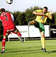 Fotball<br /> Treingskamp Friendly<br /> 22.07.08<br /> Sjövalla Stadion<br /> Falkenbergs FF - Norwich City<br /> Darel Russell with a good chance<br /> Foto - Kasper Wikestad