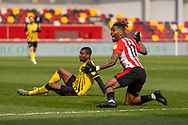 Brentford Forward Ivan Toney(#17) appeals for a free kick during the EFL Sky Bet Championship match between Brentford and Watford at Brentford Community Stadium, Brentford, England on 1 May 2021.