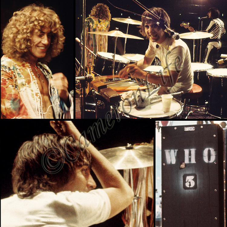 The Who  - 1970 IOW festival collage.- .This collection of photos portrays The Who in one of their most historical performances (or should that be hysterical?). The sheer energies of Keith Moon and Roger Daltrey in particular are portrayed in this collage of revealing images captured in the very early hours of the morning.