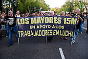 Noisy protest in the streets of Madrid called by the organization 15M. The intention is to unite different European cities. Started from the Plaza de Emilio Castelar along Paseo de la Castellana to Puerta del Sol<br /> On arrival at the Puerta del Sol were read manifestos, claims and possible solutions to resolve the economic debt of Spain to the European Union. The cacerolada, expression used in Spain in this type of protest, took place in a peaceful and uneventful.