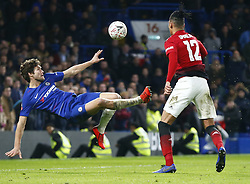 February 18, 2019 - London, United Kingdom - Chelsea's Marcos Alonso.during FA Cup Fifth Round between Chelsea and Manchester United at Stanford Bridge stadium , London, England on 18 Feb 2019. (Credit Image: © Action Foto Sport/NurPhoto via ZUMA Press)