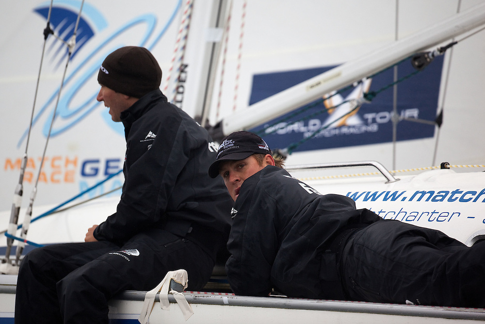 Nick Blackman (L) and Dave Swete (R) of Black Match Racing during their match against Kathrin Kadelbach. World Match Race Tour. Match Race Germany. Langenargen, Germany. 20 May 2010. Photo: Gareth Cooke/Subzero Images/WMRT