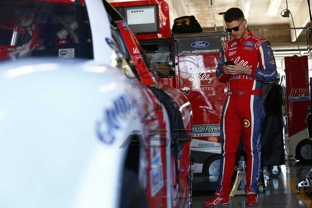 November 03, 2017 - Ft. Worth, Texas, USA: \{persons}n\ hangs out in the garage during practice for the O'Reilly Auto Parts Challenge at Texas Motor Speedway in Ft. Worth, Texas.