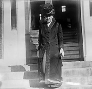 Jane Addams leaving Mercy Hospital in Chicago, after a visit with her friend, ex-President Theodore Roosevelt who was recovering from an assassination attempt in October, 1913.