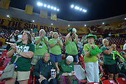 March 18, 2016; Tempe, Ariz;  Green Bay Phoenix fans cheer before a game between No. 7 Tennessee Lady Volunteers and No. 10 Green Bay Phoenix in the first round of the 2016 NCAA Division I Women's Basketball Championship in Tempe, Ariz.
