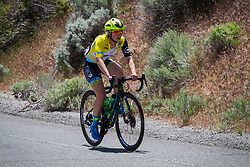 May 18, 2018 - Nevada, U.S - Friday, May 18, 2018.Race leader, KENDALL RYAN, of Team TIBCO - Silicon Valley Bank (USA), wearing the yellow jersey, drops behind the leaders as she works her way up Kingsbury Grade Rd., Nevada, during Stage 2 of the Amgen Tour of California Women's Race empowered with SRAM. The stage starts and finishes in South Lake Tahoe, California, near Heavenly Ski Resort. (Credit Image: © Tracy Barbutes via ZUMA Wire)