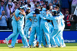 England celebrates after winning the Cricket World Cup on the last ball of the Super Over - Mandatory by-line: Robbie Stephenson/JMP - 14/07/2019 - CRICKET - Lords - London, England - England v New Zealand - ICC Cricket World Cup 2019 - Final